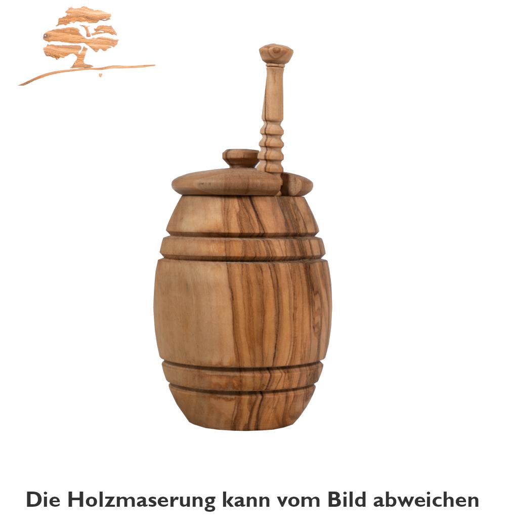 Olivenholz Honigtopf mit Honiglöffel
